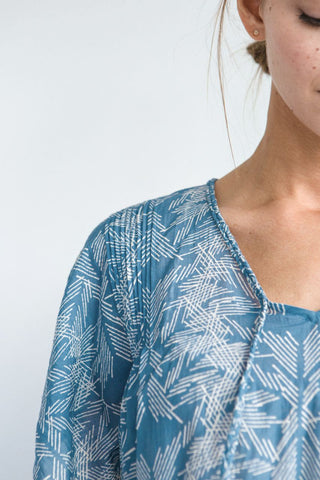 bali blockprint kaftan and coverup - shoulder tucks