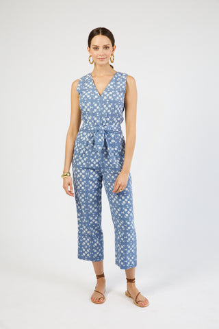 brooklyn jumpsuit in blue tile print