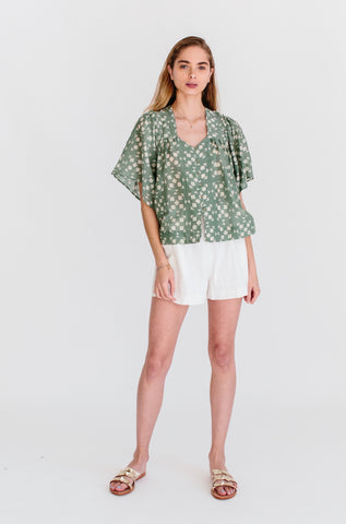 coba blouse in green tile print