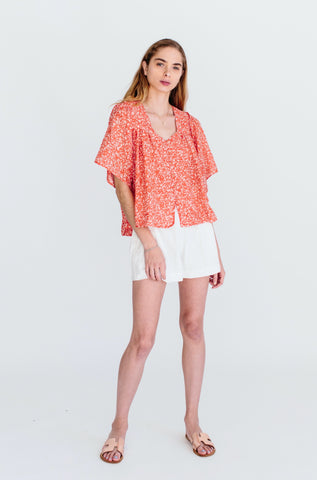 coba blouse in poppy floral