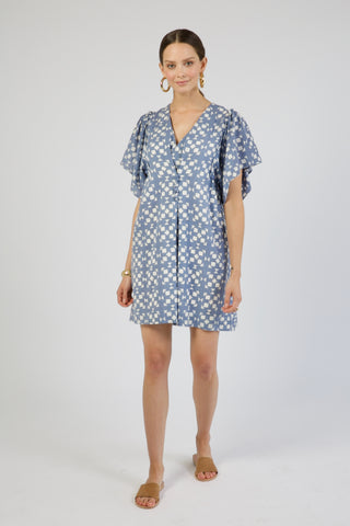 coba dress in blue tile print
