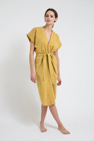 belted corfu in mustard