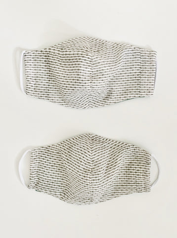 upcycled masks in grey line & dot print