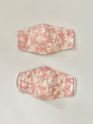 upcycled masks in pink floral print