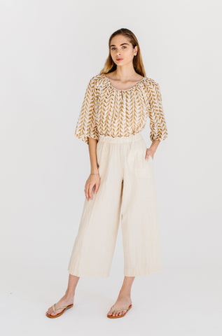 seville top in golden bird blockprint