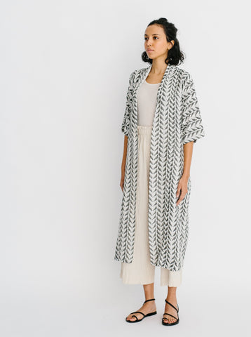 laos robe in grey bird blockprint