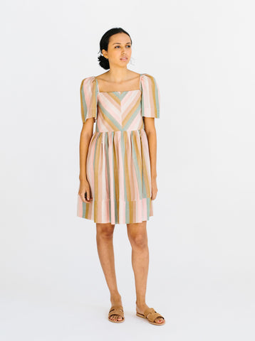 mallorca dress in rainbow stripe