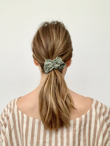 block printed scrunchie in moss
