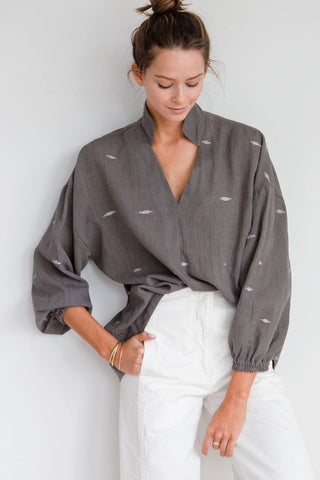 cotton handwoven gray blouse