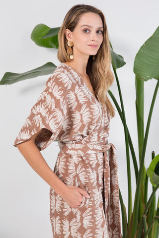 krabi blockprinted wrap dress