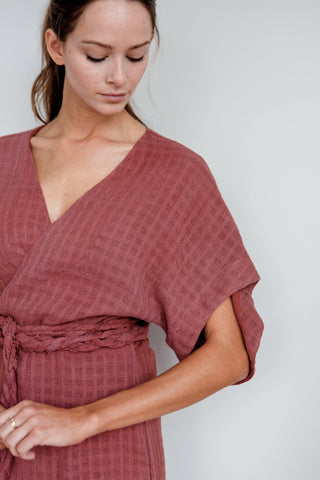 krabi wrap dress in burgundy for fall