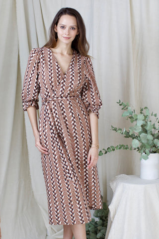 krabi wrap dress in bird print