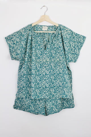 pajama short set in teal