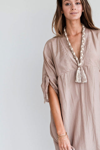 ojai short blush dress for fall with woven tassel necklace