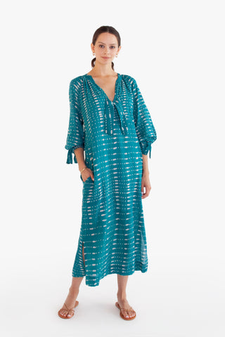 palm springs caftan in teal batik