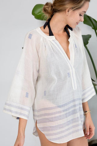 palm springs blue jamdani top