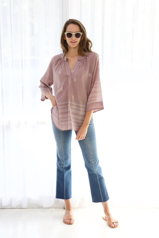 palm springs violet jamdani top