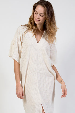 boho ivory kaftan dress in handwoven cotton - midi length with tassel belt