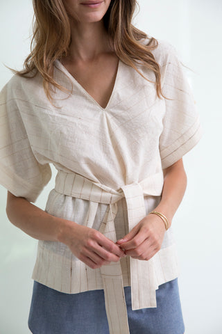 striped valais blouse with belt in soft handwoven cotton