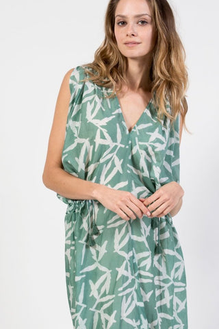 green printed caftan beach coverup with drawstrings