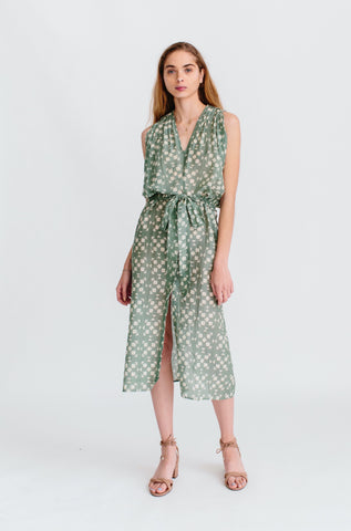vana coverup in green tile print
