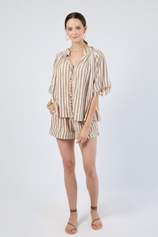 vienna top in taupe stripe