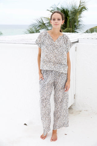 pajama pant set in golden + black floral