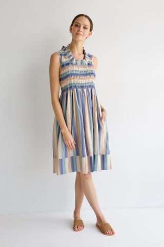 crete dress in blue stripe
