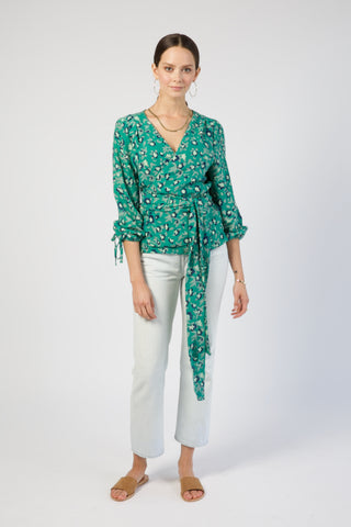 krabi wrap top in green lily print
