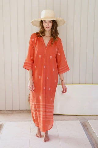 palm springs caftan in tangerine