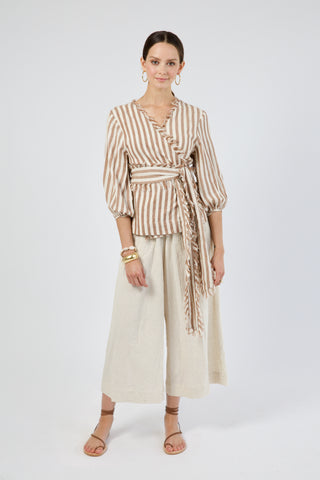 krabi wrap top in taupe stripe