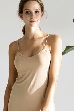 short nude slip low v neck