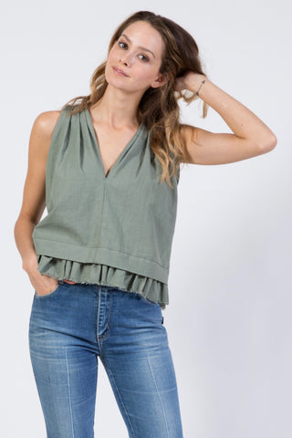orleans top in dusty green