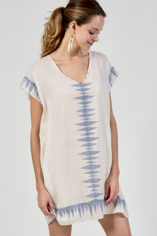 sabi sand short blue and white caftan coverup