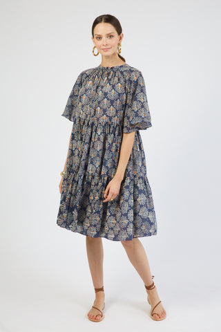 vienna in navy peacock print