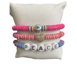 Eye Love Peace Bracelet Stack 🧿❤️☮️