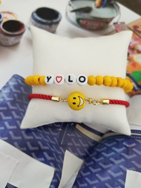 Yolo and Emoji Bracelet Set