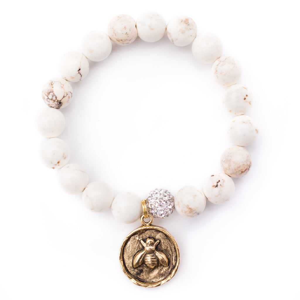 White Queen Bee Bracelet