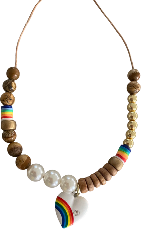 Hearts, Rainbows and Pearls Necklace