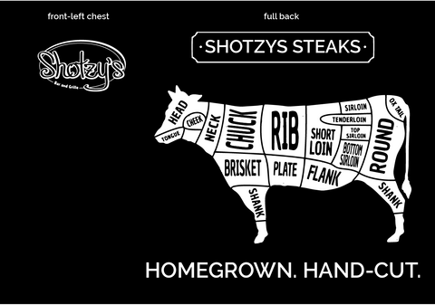 Shotzys Steaks T-Shirt Order