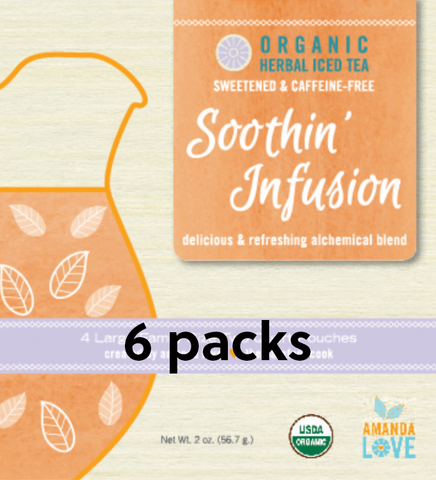 Sweetened Soothin' Infusion Organic Herbal Iced Tea-  6 pack