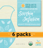 Unsweetened Soothin' Infusion Organic Herbal Iced Tea-  6 pack