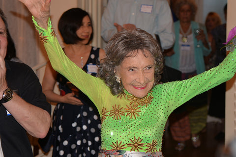 Yoga Master Tao Porchon-Lynch at her 99th birthday party - August 13, 2017
