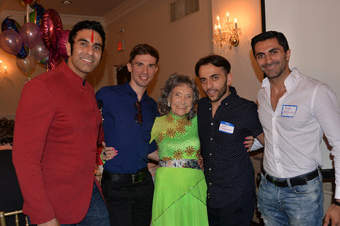 Sandip Soparrkar, Anton Bilozorov, 99-year-old Tao Porchon-Lynch, Vard Margaryan and Arsen Savgsyan at Tao's 99th Birthday Party - August 13, 2017