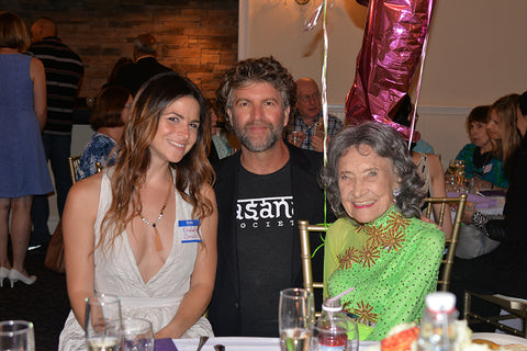 Robert Sturman and 99-year-old yoga master Tao Porchon-Lynch at Tao's 99th birthday party - August 13, 2017