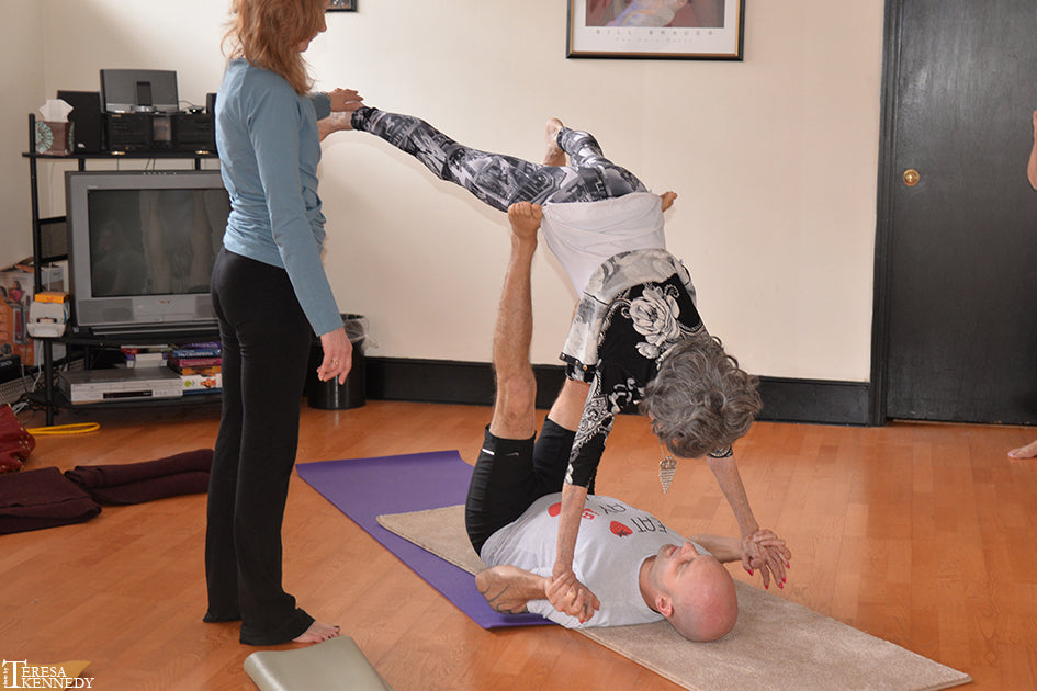"96-year-old Yoga Master Tao Porchon-Lynch ""Flying"" in AcroYoga Session"