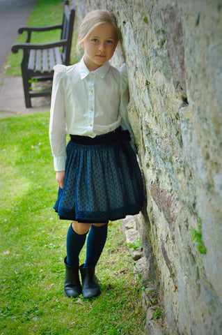 White Blouse and Polka Dot Skirt