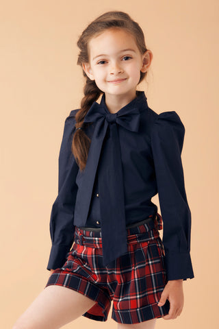 Navy Blue Blouse and Tartan Shorts