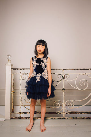 Daisy Blue Lace Tuelle Dress