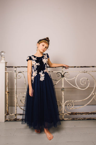 Blue Lace Full Skirted Tuelle Dress